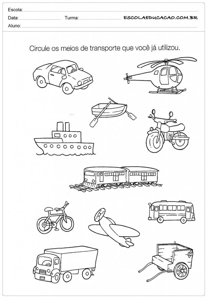 Atividades de História para Educação Infantil - Meios de Transporte