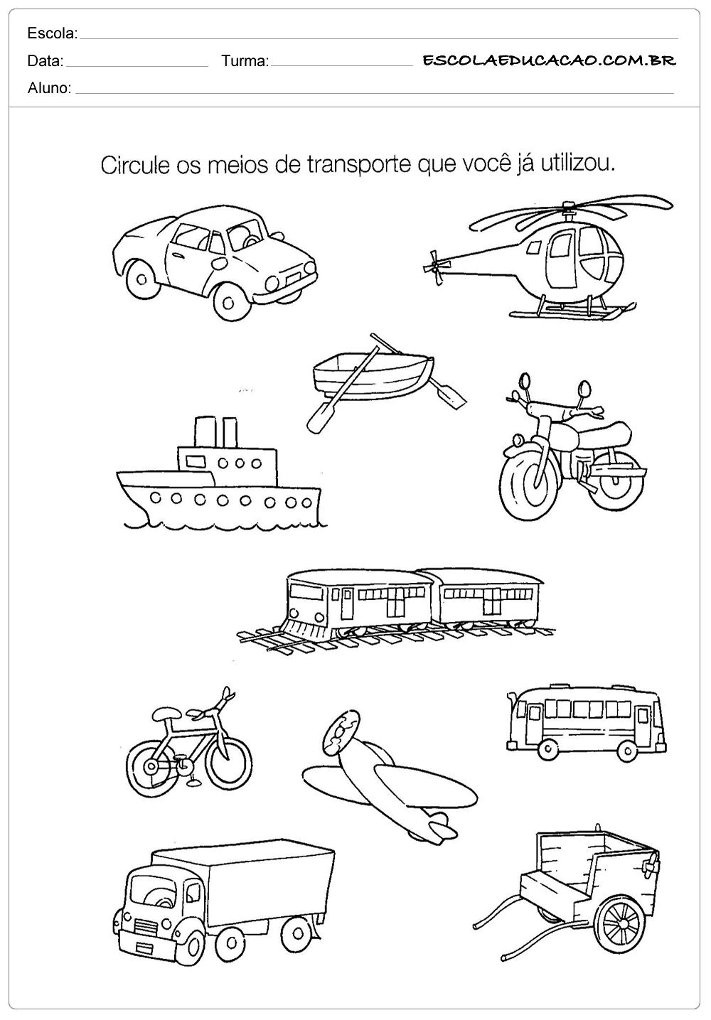 Atividades de História para Educação Infantil – Meios de Transporte