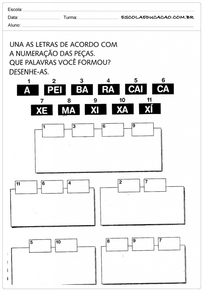 Atividades de Percepção Visual - Unindo as Letras