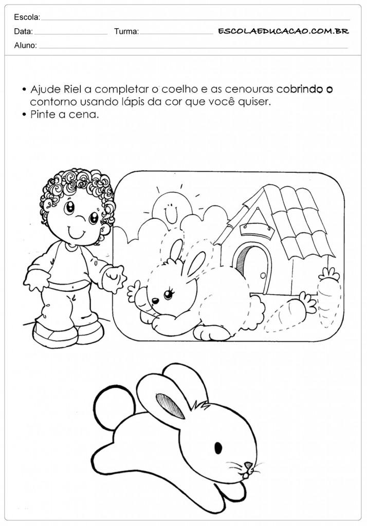 Atividades e Desenhos de Animais para Colorir - Complete o Coelho
