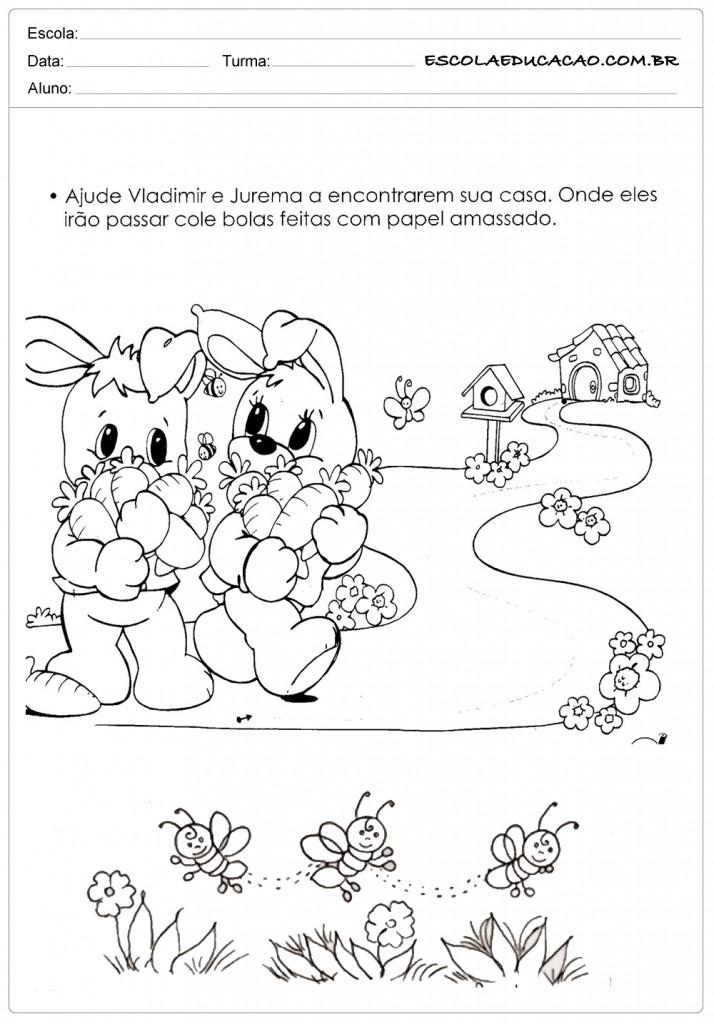 Atividades e Desenhos de Animais para Colorir - Coelhinhos