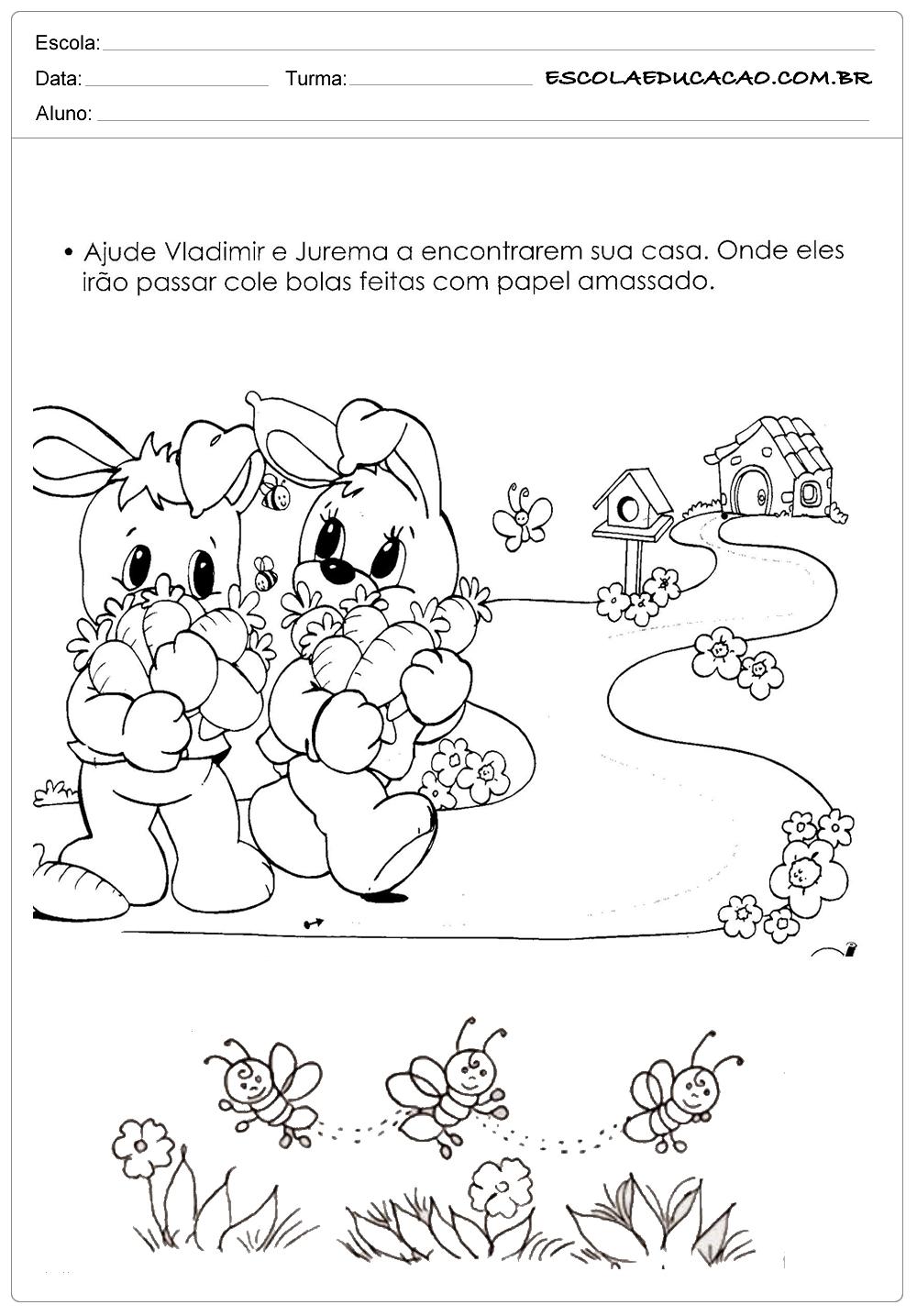 Atividades e Desenhos de Animais para Colorir – Coelhinhos