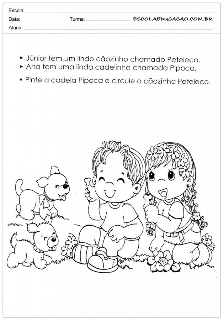 Atividades e Desenhos de Animais para Colorir - Pipoca e Peteleco