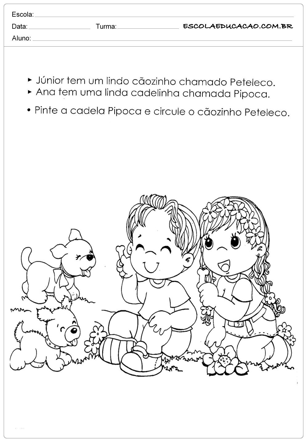 Atividades e Desenhos de Animais para Colorir – Pipoca e Peteleco