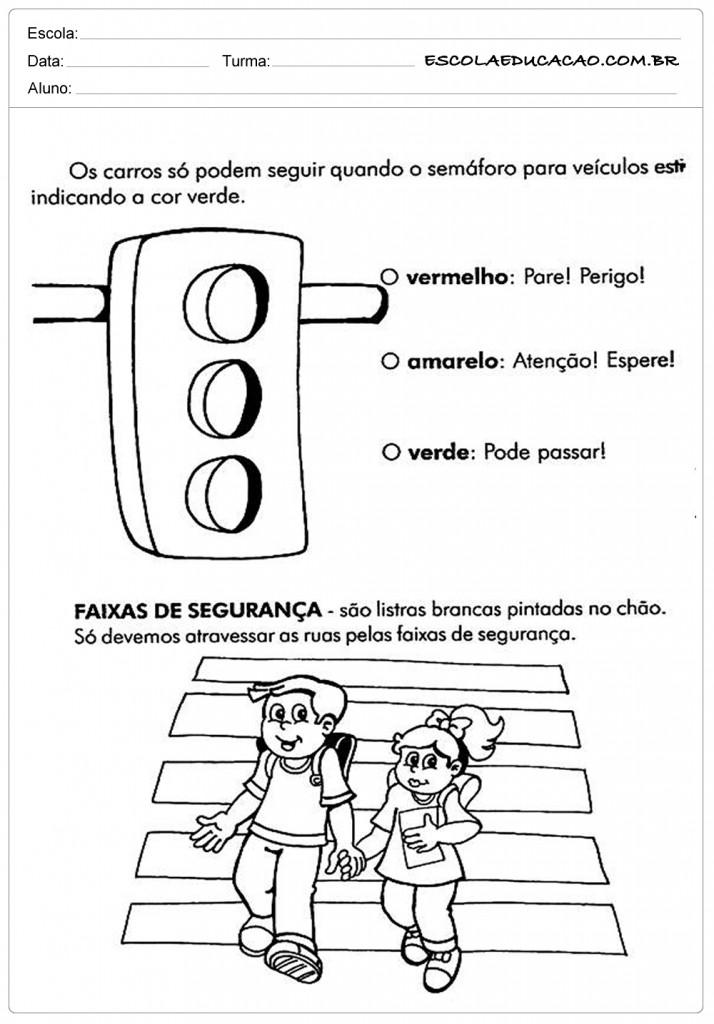 Preferência Atividades sobre Trânsito para Educação Infantil - Escola RI87