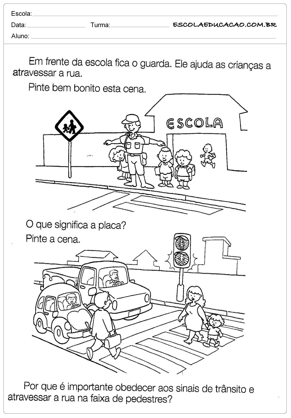 Favoritos Atividades sobre o Trânsito - Placa e Símbolos - Escola Educação QD37