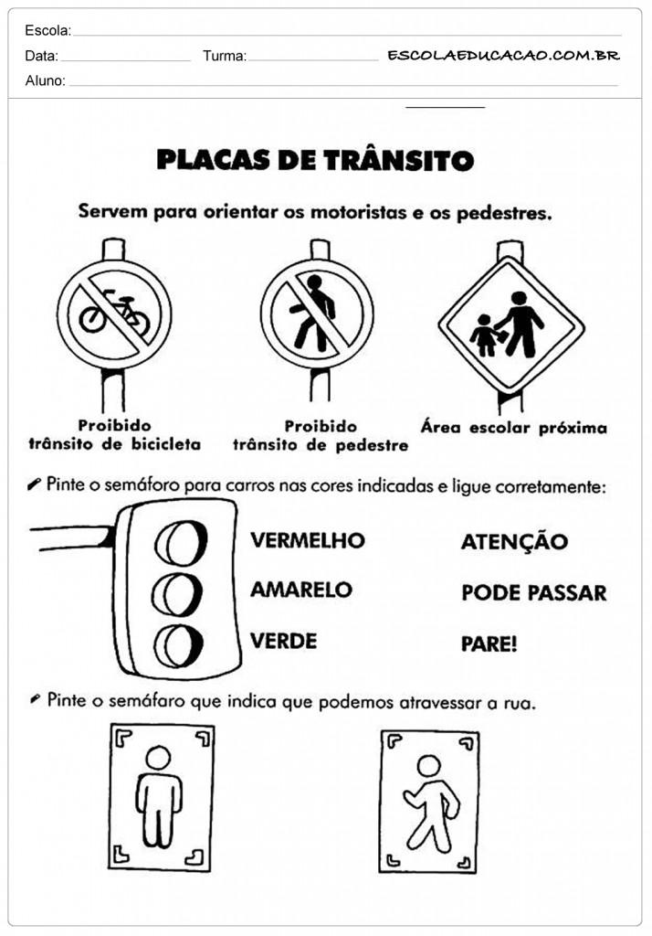 Atividades sobre o Trânsito - Placas de Trânsito