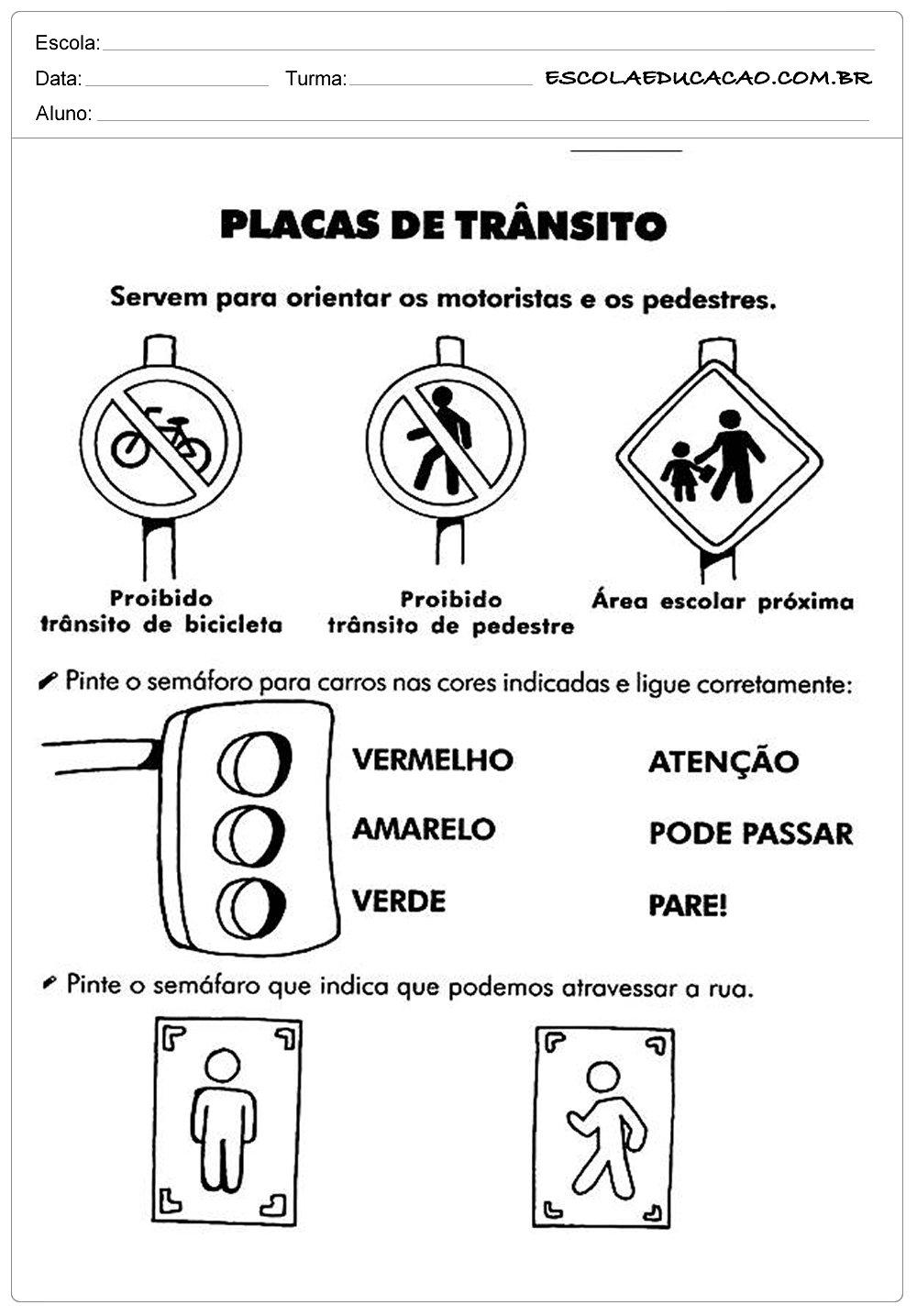 Atividades sobre o Trânsito – Placas de Trânsito