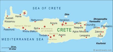 A ilha de Creta é a maior e mais populosa ilha da Grécia