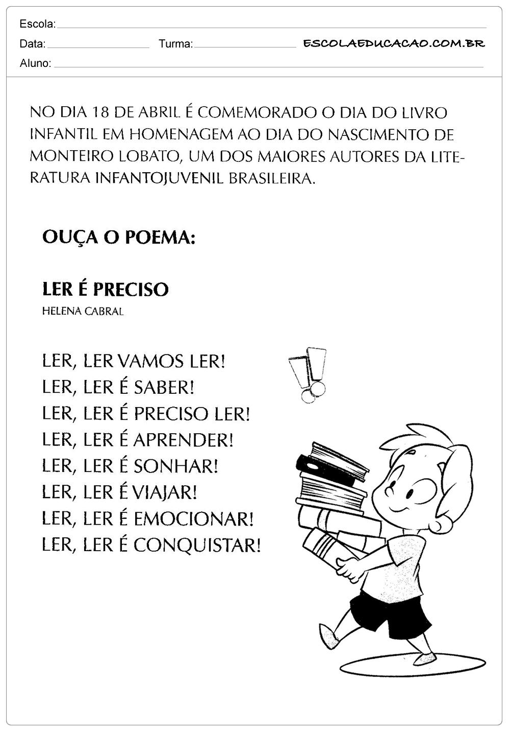 Excepcional Atividades Dia do Livro Infantil - Ouça o Poema - Escola Educação VS97