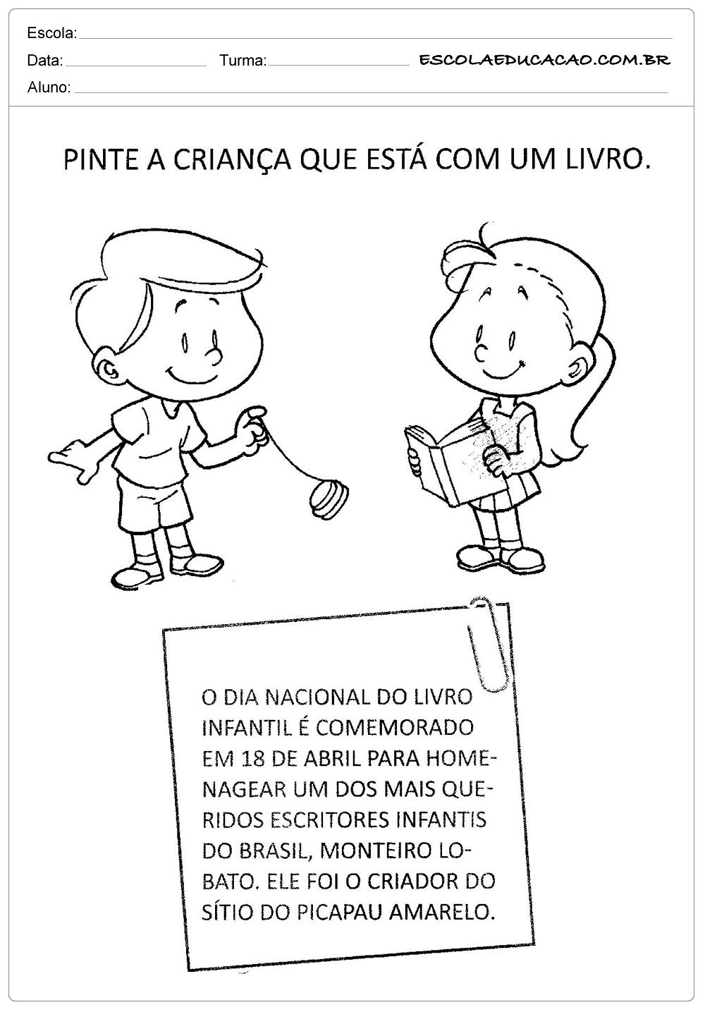 Atividades Dia do Livro Infantil - Pinte a Criança