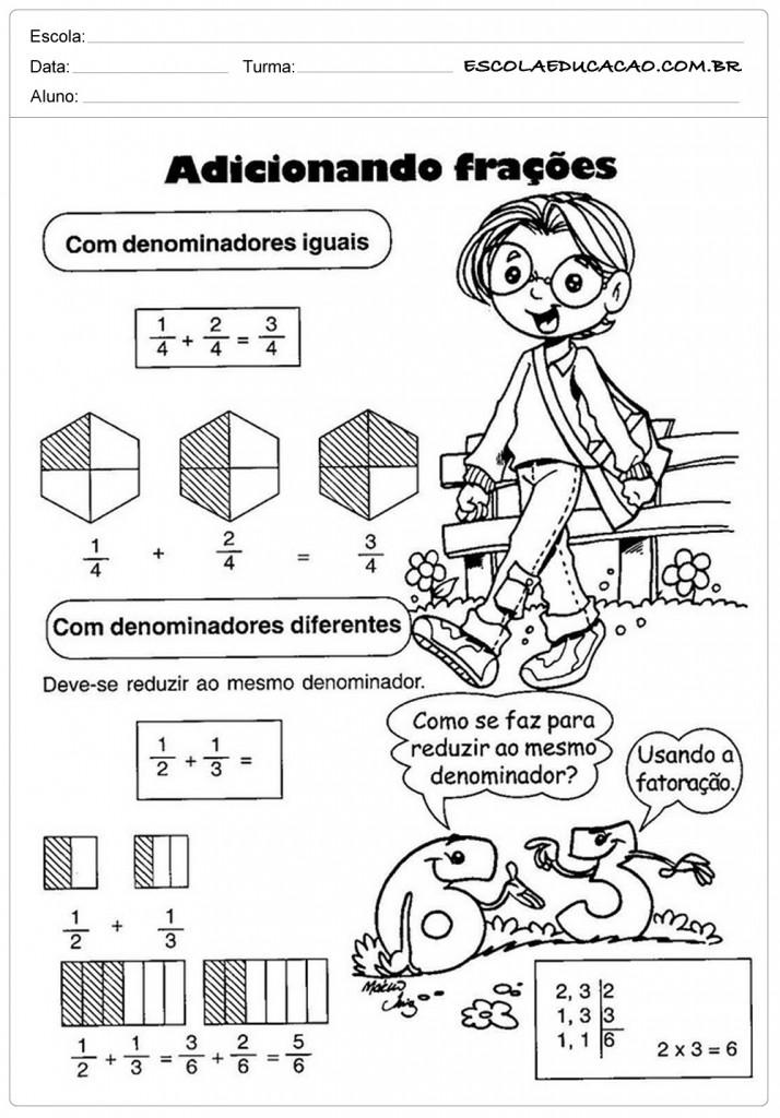 Atividades de Matemática - Adicionando Frações