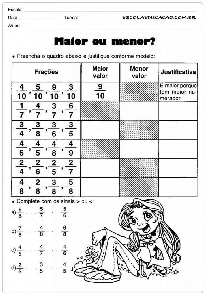 Atividades de Matemática - Frações maior ou menor