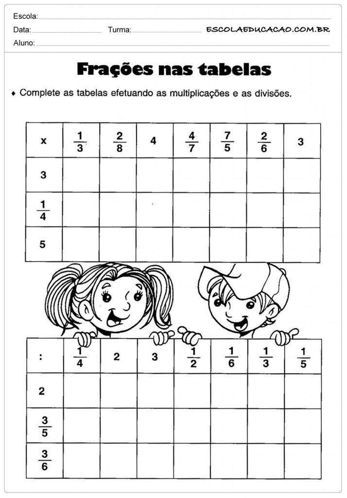 Atividades de Matemática - Frações na tabela