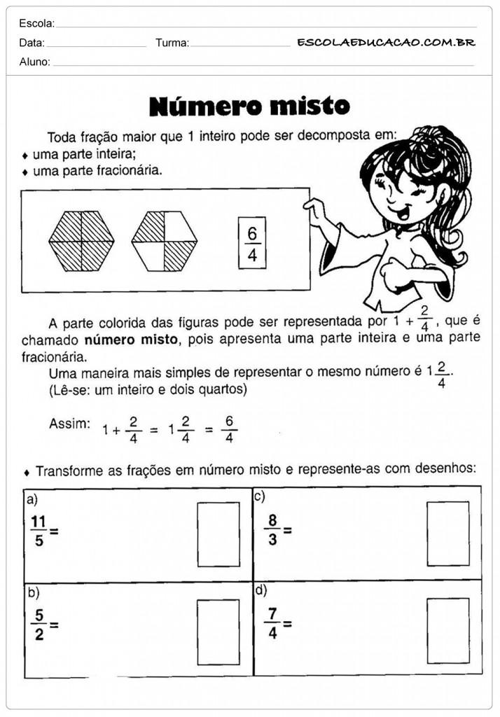 Atividades de Matemática - Número misto