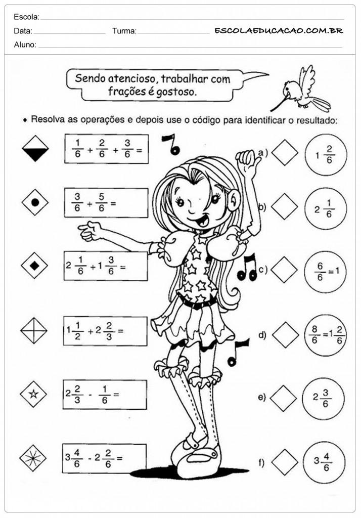 Atividades de Matemática - Somando Frações