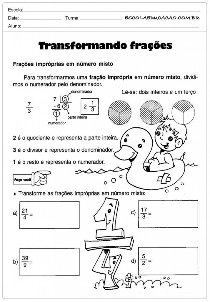 Atividades de Matemática - Transformando Frações