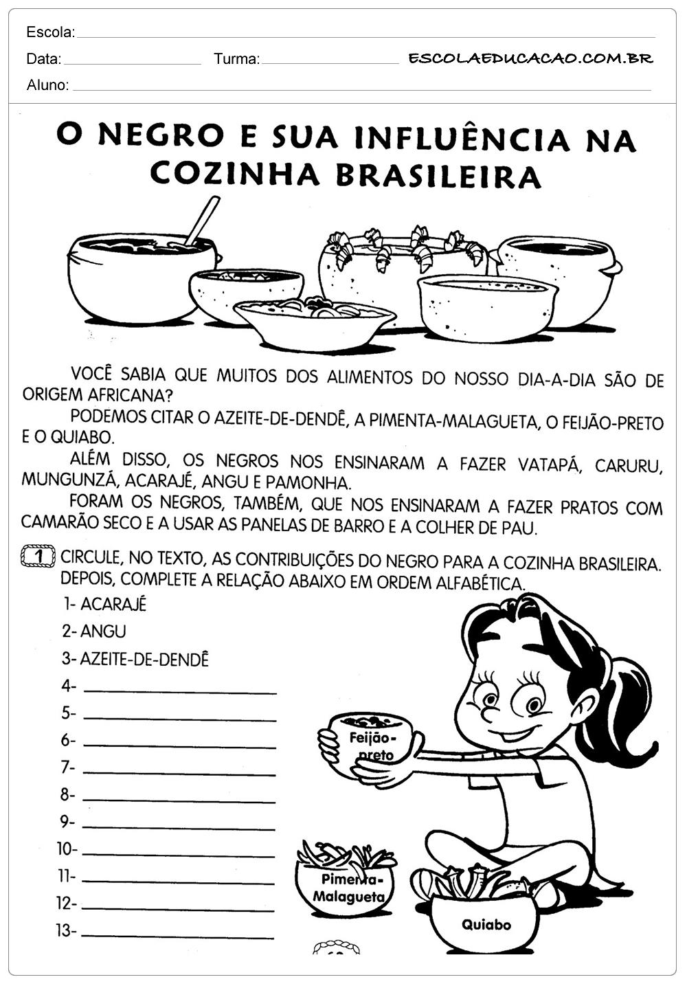 Atividades Dia da Consciência Negra – Cozinha Brasileira