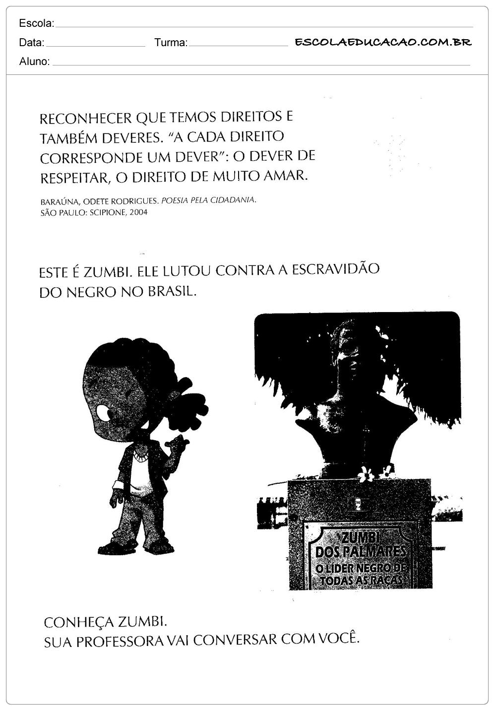 Atividades Dia da Consciência Negra – Zumbi