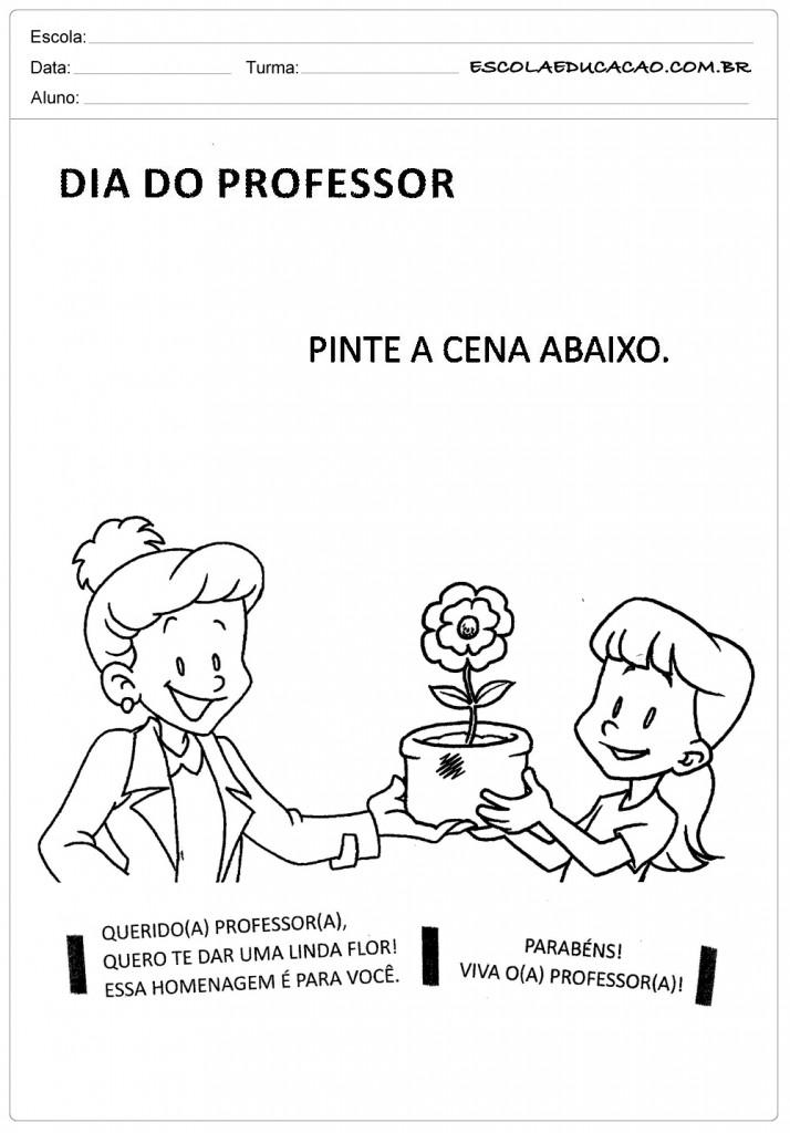 Atividades para o Dias dos Professores - Pinte a Cena