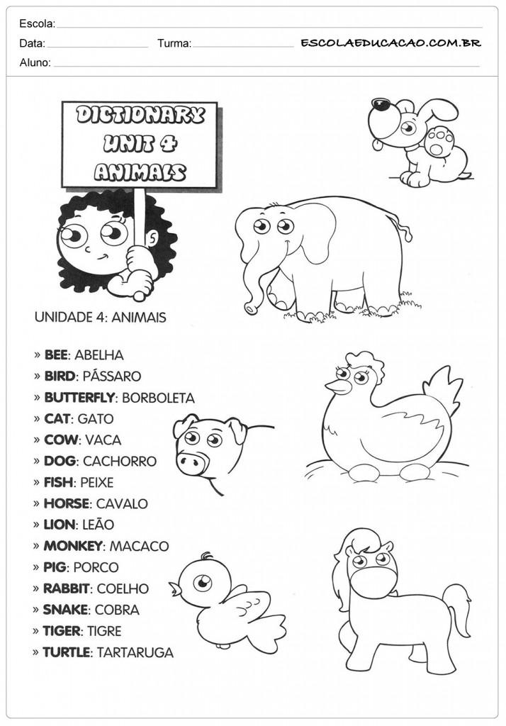 Dicionário de Animais em Inglês