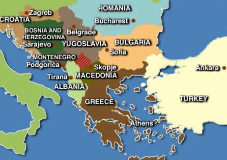 Mapa da Península Balcânica