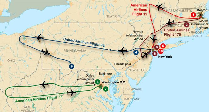 Trajetória dos aviões do ataque terrorista de 11 de setembro