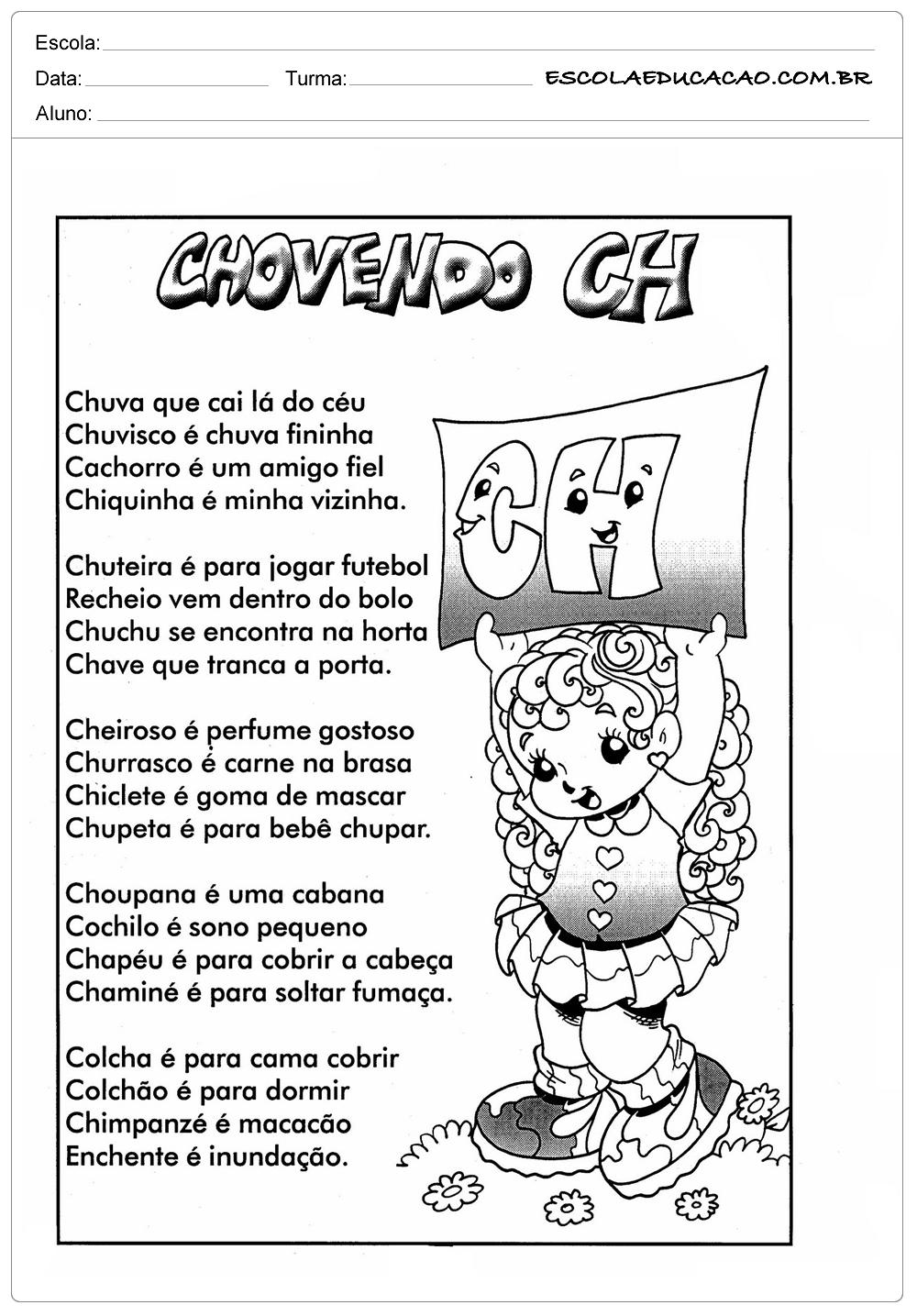 Chovendo CH – Atividades com CH