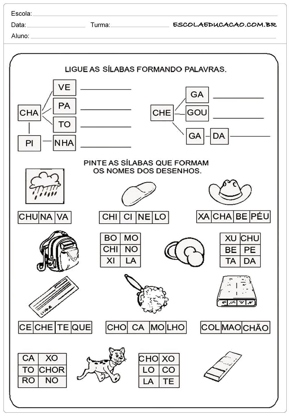 Ligando as Palavras – Atividades com CH