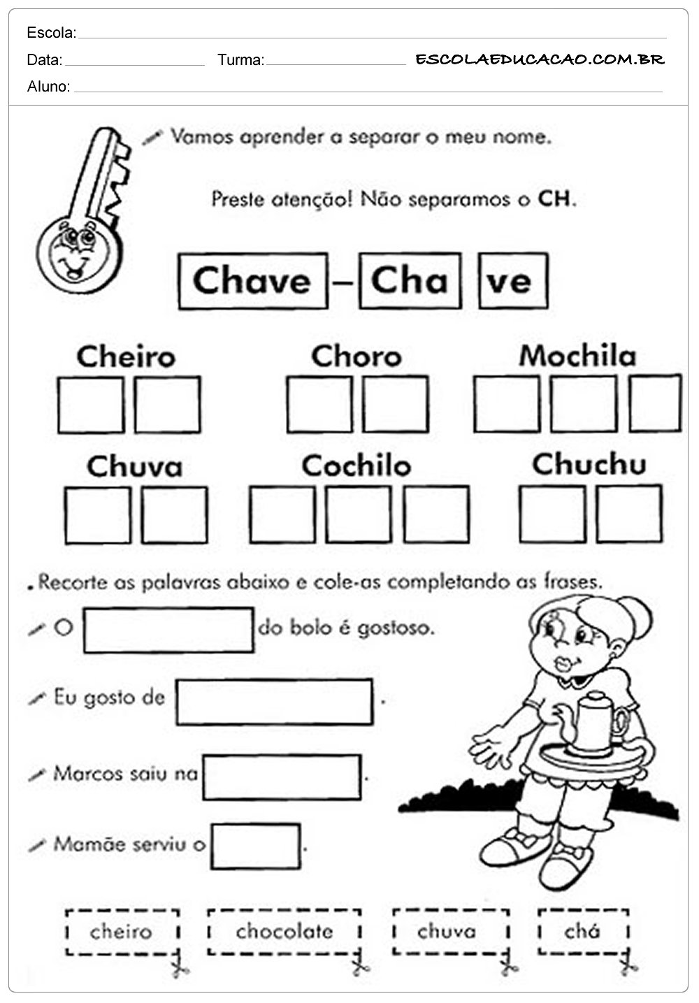 Separando nomes – Atividades com CH