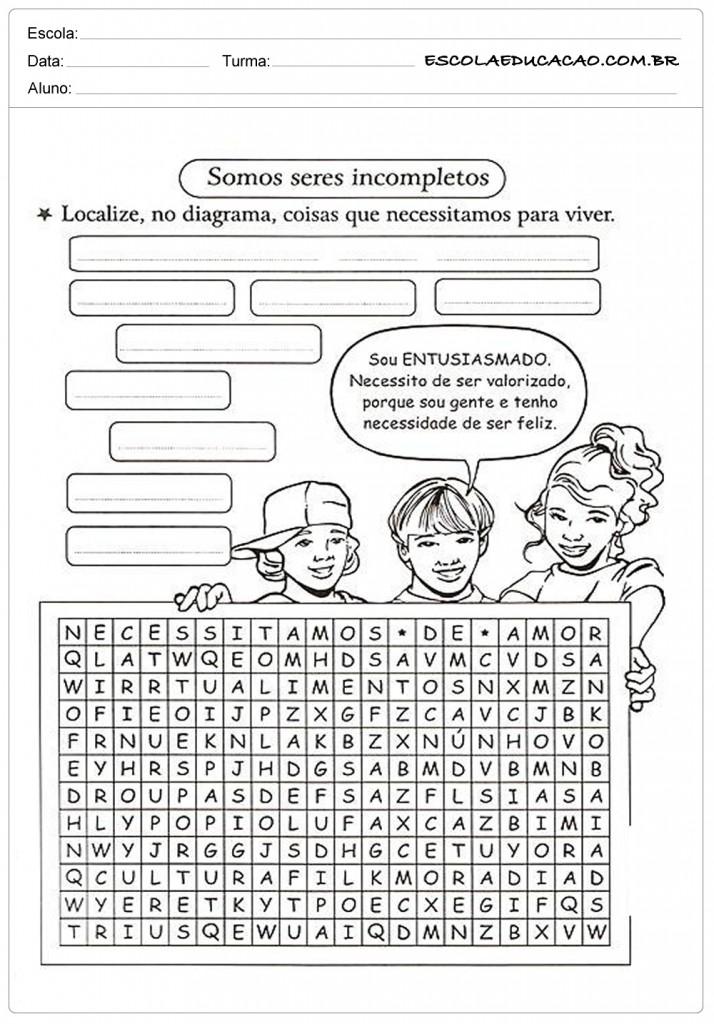 Caça Palavras - Ensino Religioso - 5º ano