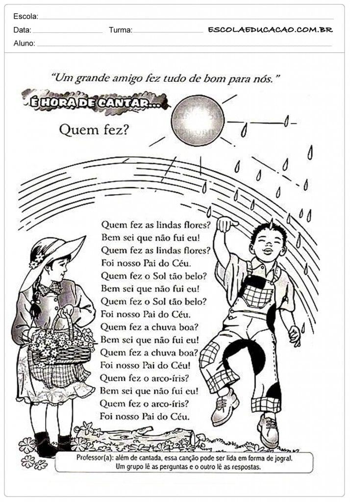 Hora de Cantar - Ensino Religioso - 5º ano