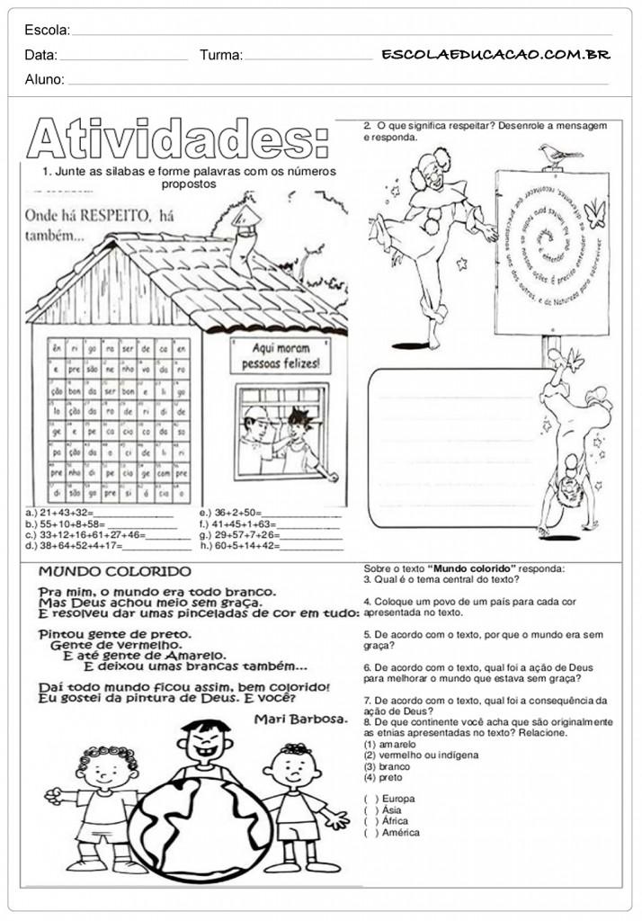 Famosos Atividades de Ensino Religioso 5º ano - Para Imprimir VE29