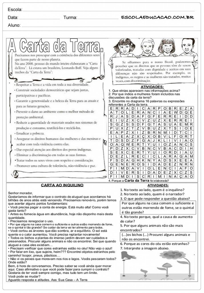 Atividades de Ensino Religioso 7o ano - Carta da Terra