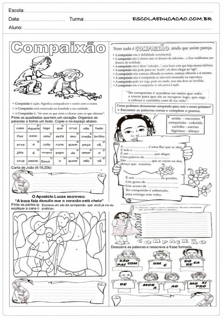 Atividades de Ensino Religioso 7o ano - Compaixão