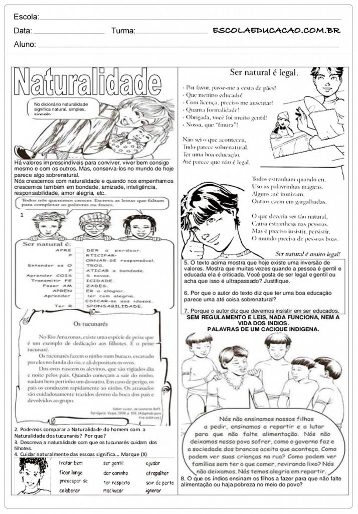 Atividades de Ensino Religioso 7o ano - Naturalidade