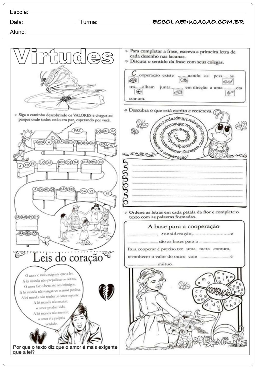 Atividades de Ensino Religioso 8º ano – Virtudes