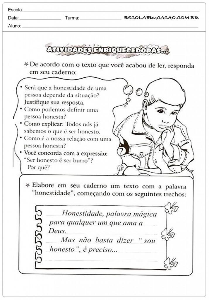 Suficiente Atividades de Ensino Religioso 4º ano - Para Imprimir PT04