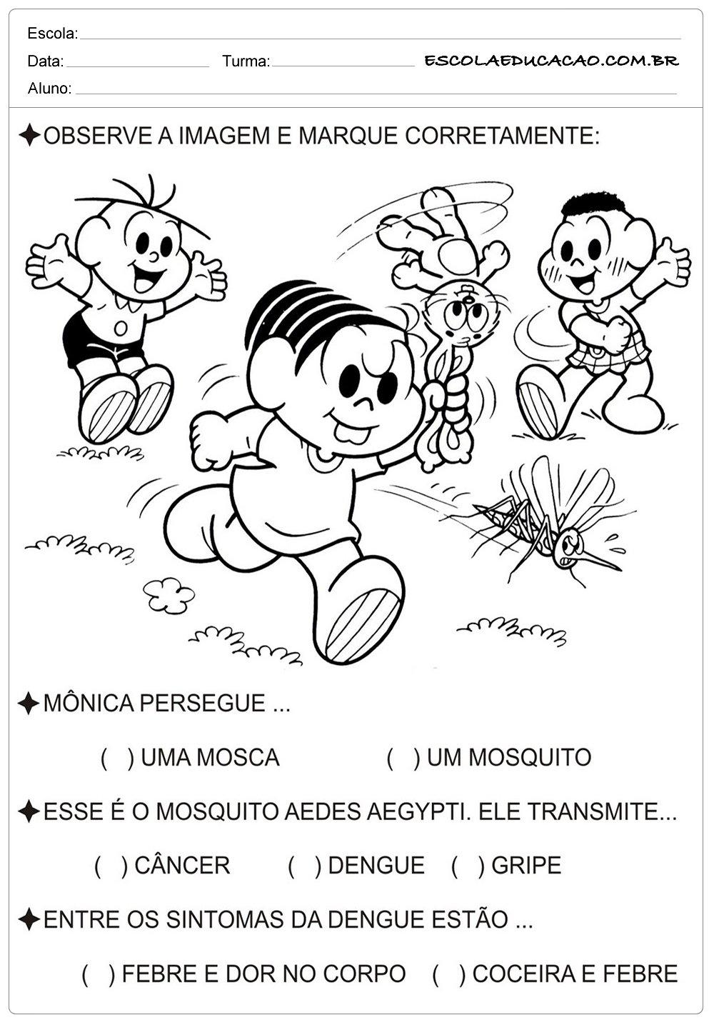 Turma da Mônica – Atividades sobre a Dengue