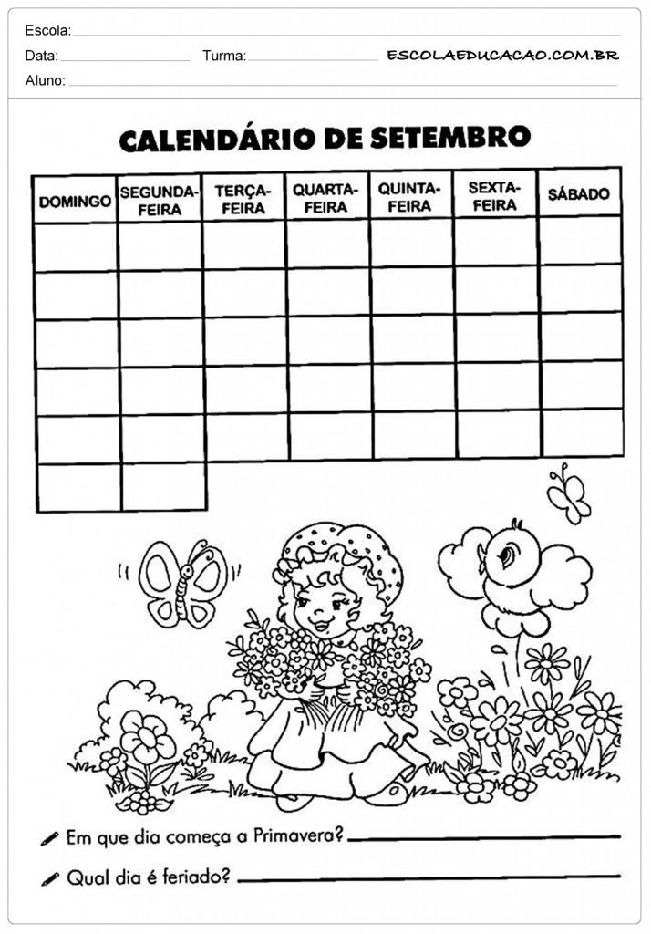 Calendário de Setembro