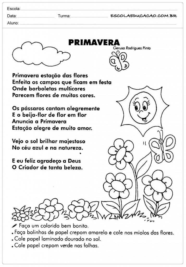 Super Atividades sobre a Primavera Para Imprimir - Educação Infantil BF69