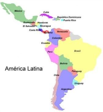 Mapa atual da América latina
