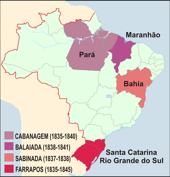 Mapa da localização das rebeliões do país