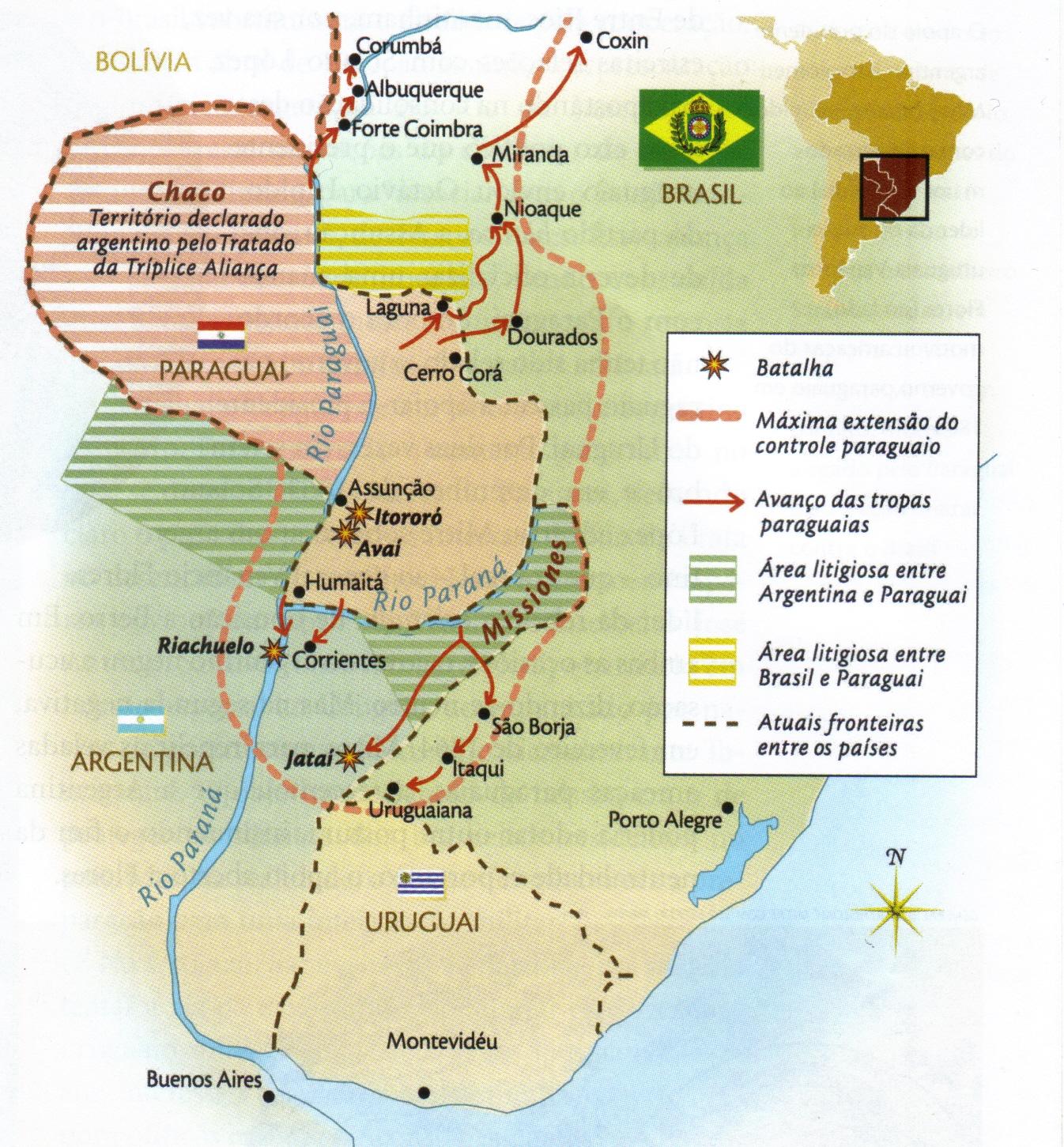Mapa da Guerra do Paraguai