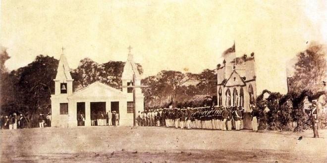 Tropa brasileira em Nova Palmira (Rio Grande do Sul) em direção ao teatro de operações na Guerra do Paraguai (1865)