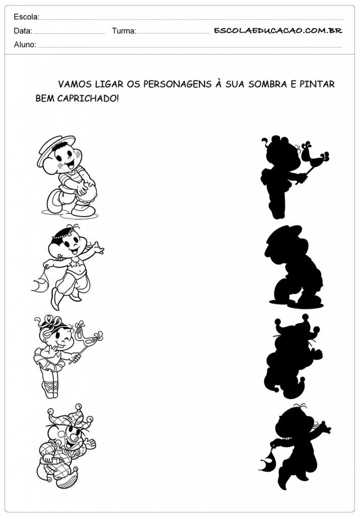 Atividades de Carnaval - Ligue Corretamente Turma da Mônica