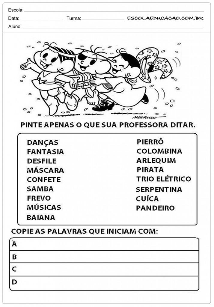 Atividades de Carnaval - Turma da Mônica
