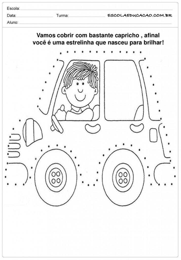 Cobrindo o carro pontilhado
