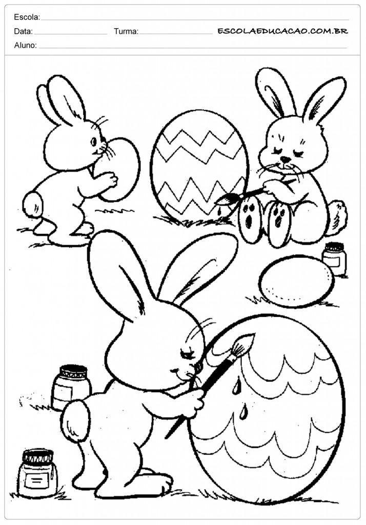 Coelhinhos Pintando Ovinhos de Páscoa