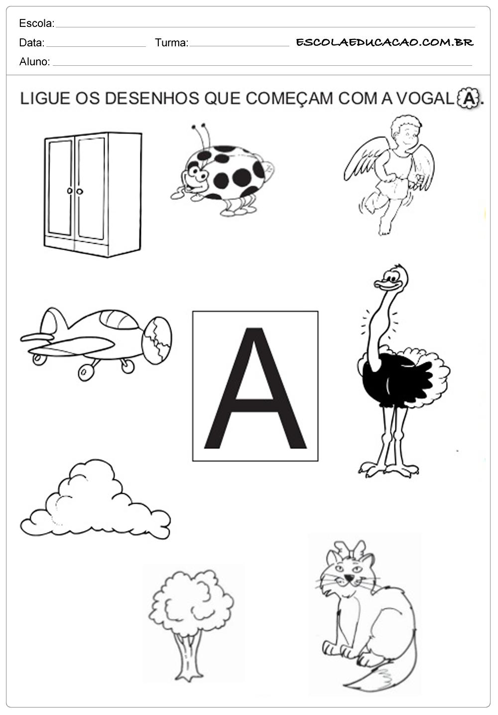 ligue os desenhos que contem a letra a escola educação